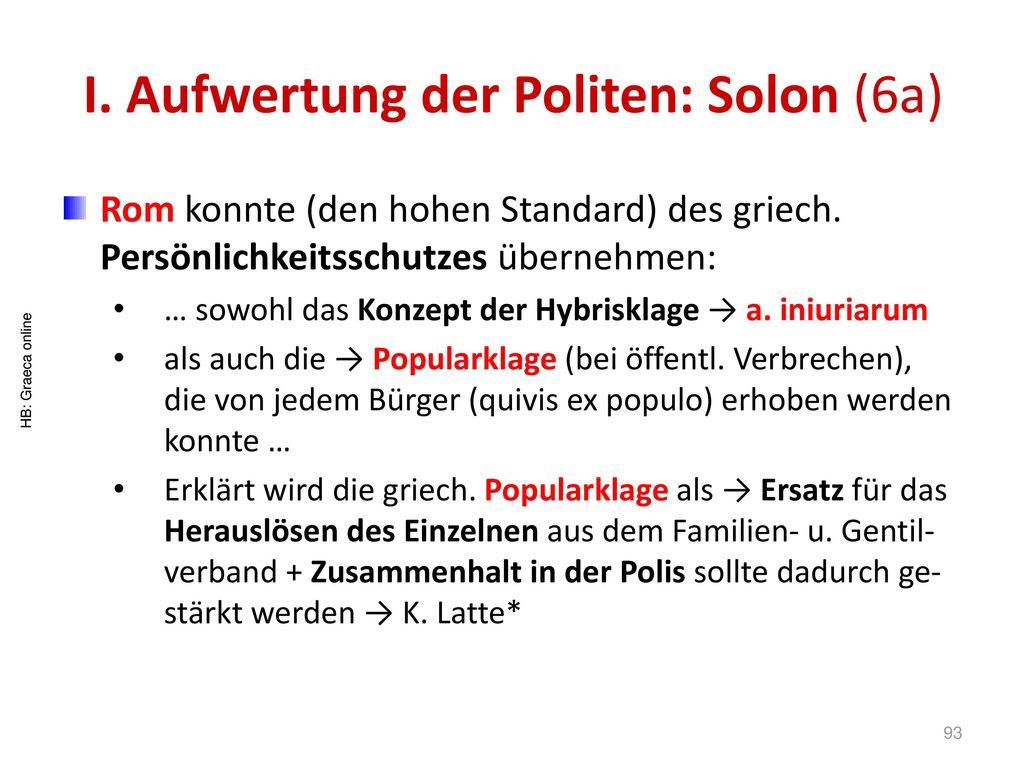 I. Aufwertung der Politen: Solon (6a)