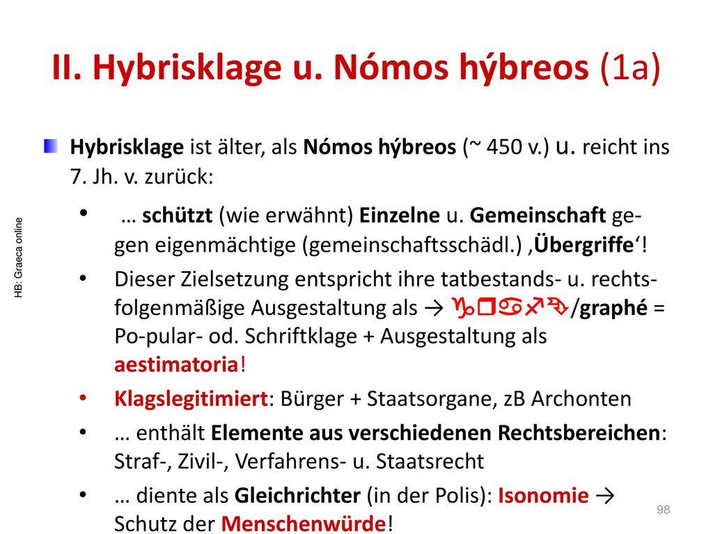 II. Hybrisklage u. Nómos hýbreos (1a)