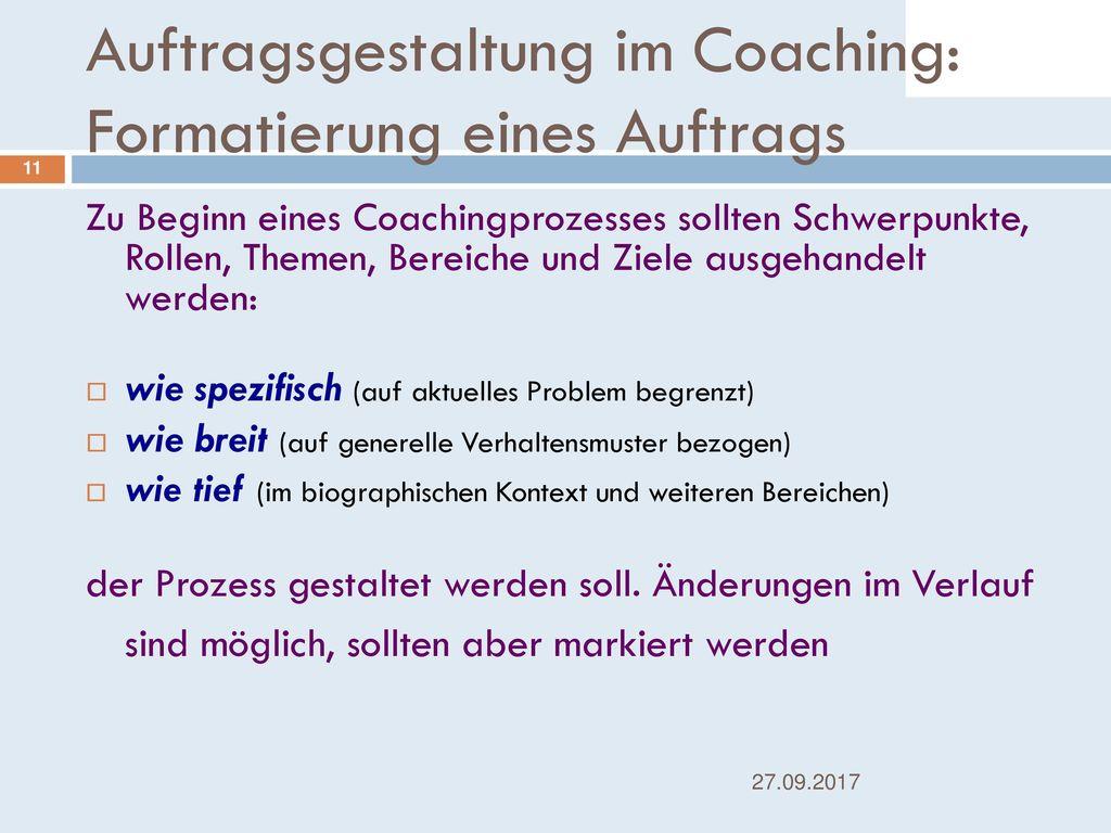 Auftragsgestaltung im Coaching: Formatierung eines Auftrags