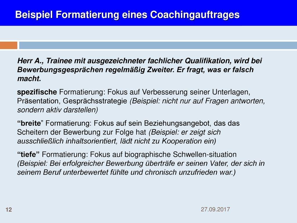 Beispiel Formatierung eines Coachingauftrages