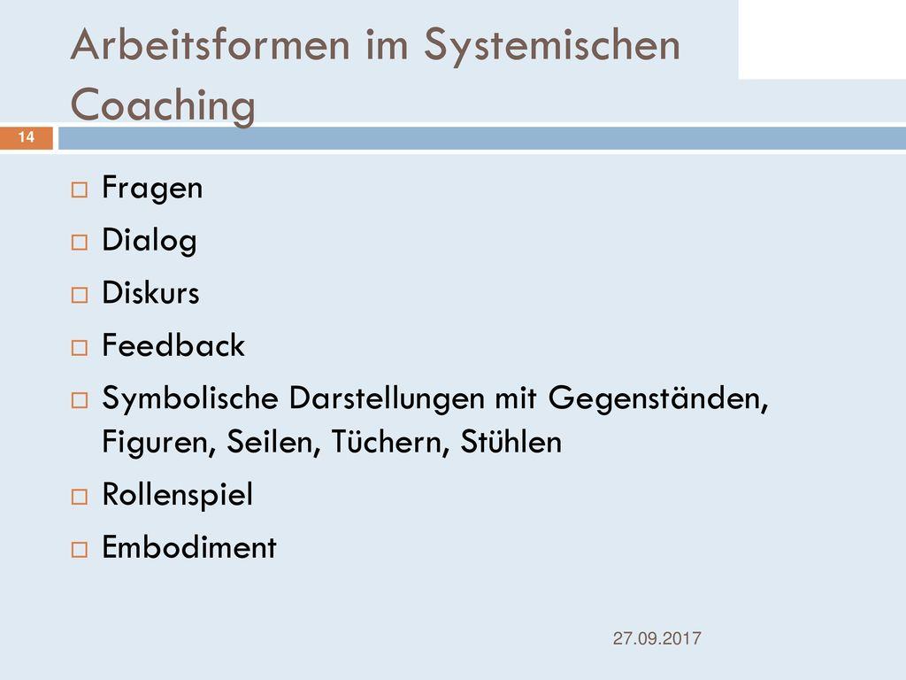 Arbeitsformen im Systemischen Coaching
