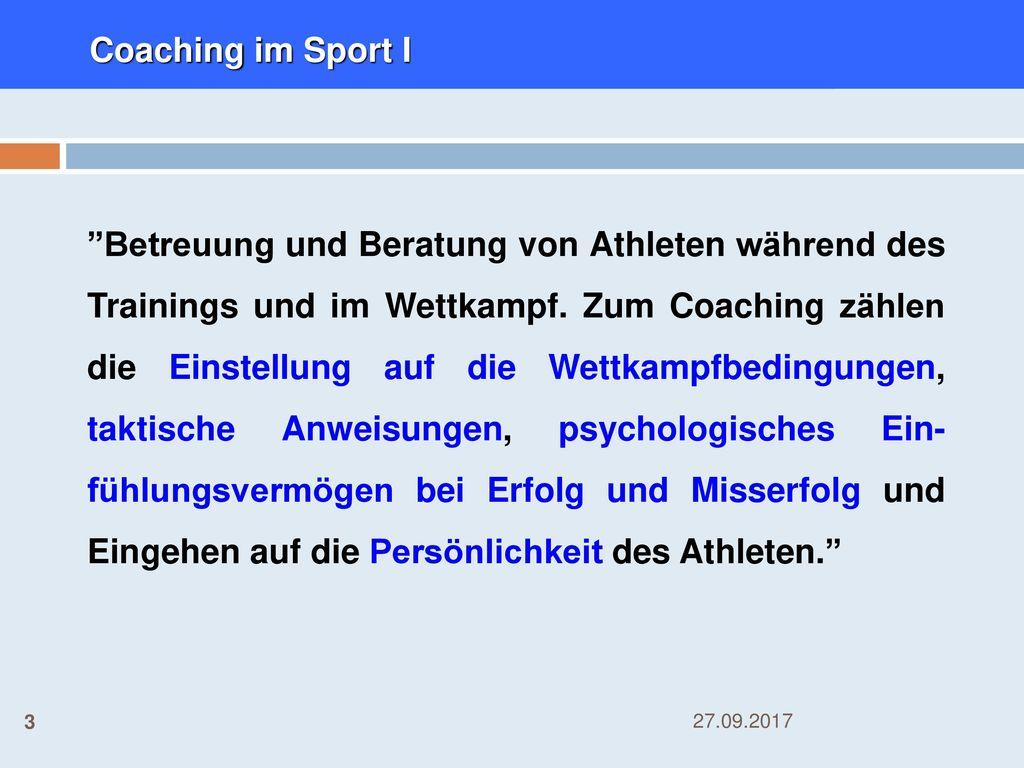 Coaching im Sport I