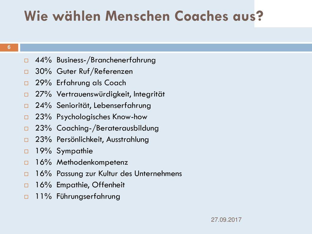Wie wählen Menschen Coaches aus