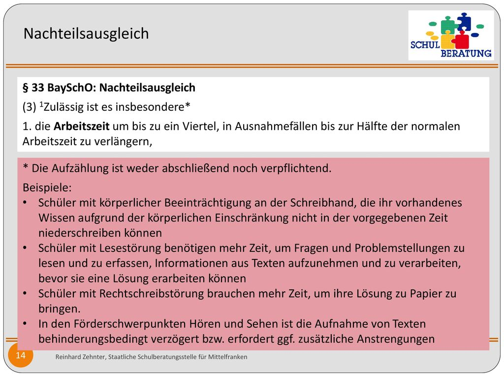 Nachteilsausgleich § 33 BaySchO: Nachteilsausgleich