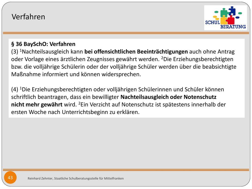 Verfahren § 36 BaySchO: Verfahren