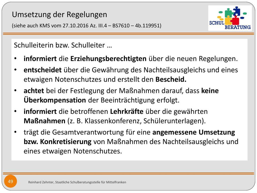 Umsetzung der Regelungen (siehe auch KMS vom 27. 10. 2016 Az. III