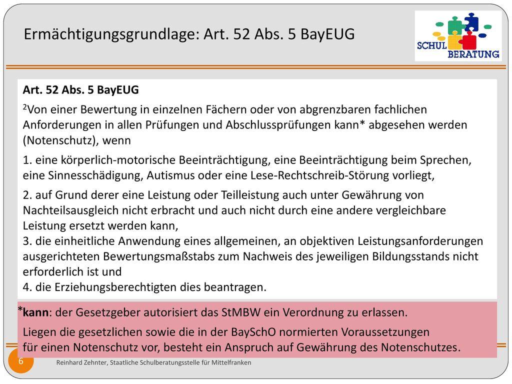 Ermächtigungsgrundlage: Art. 52 Abs. 5 BayEUG