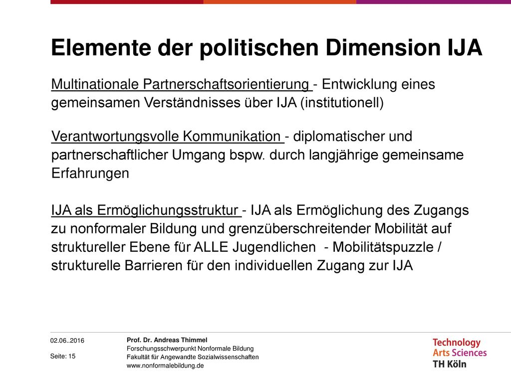 Elemente der politischen Dimension IJA