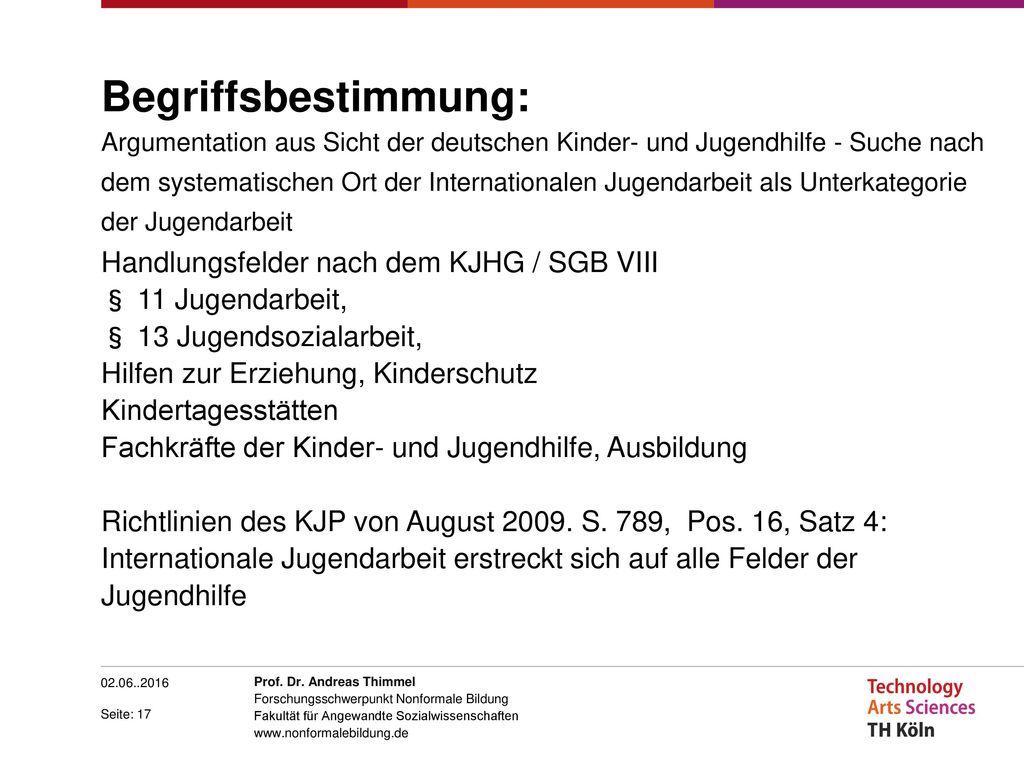 Begriffsbestimmung: Argumentation aus Sicht der deutschen Kinder- und Jugendhilfe - Suche nach dem systematischen Ort der Internationalen Jugendarbeit als Unterkategorie der Jugendarbeit