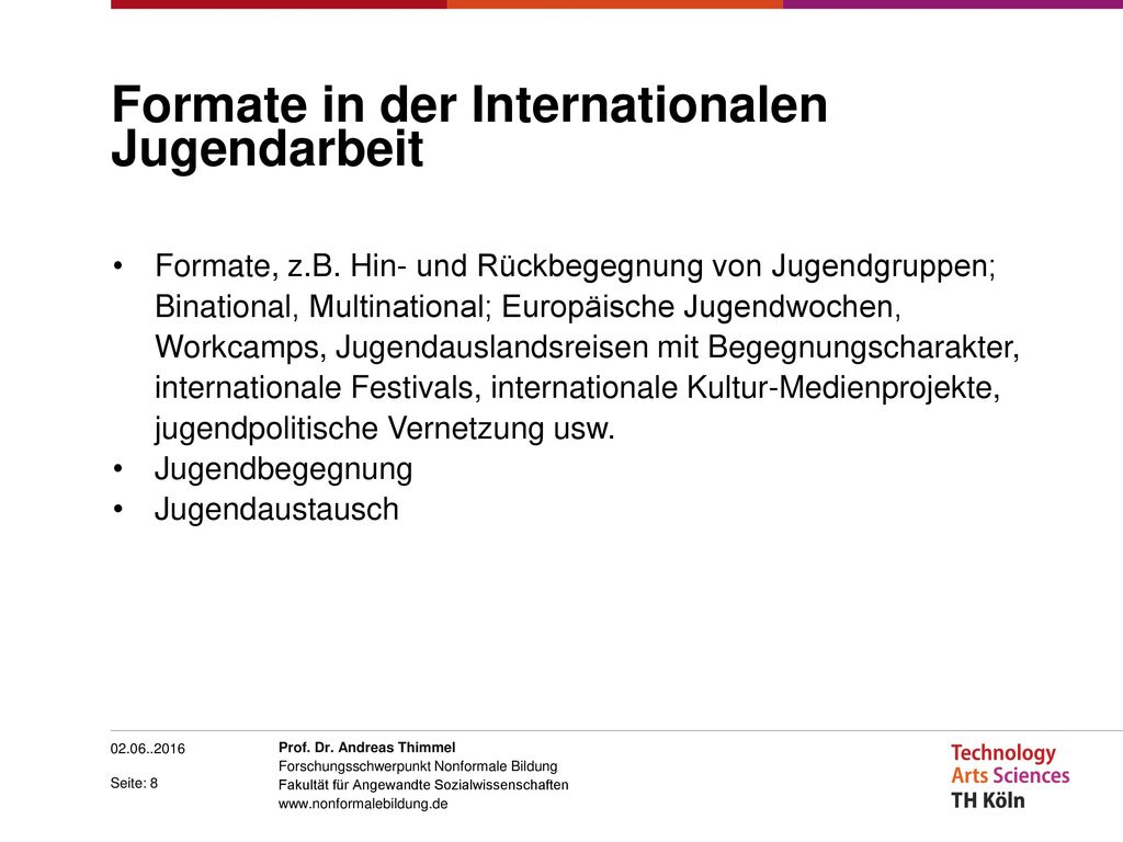 Formate in der Internationalen Jugendarbeit