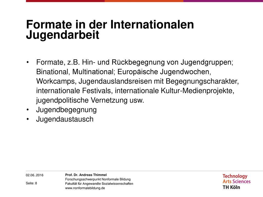 Formate in der Internationalen Jugendarbeit