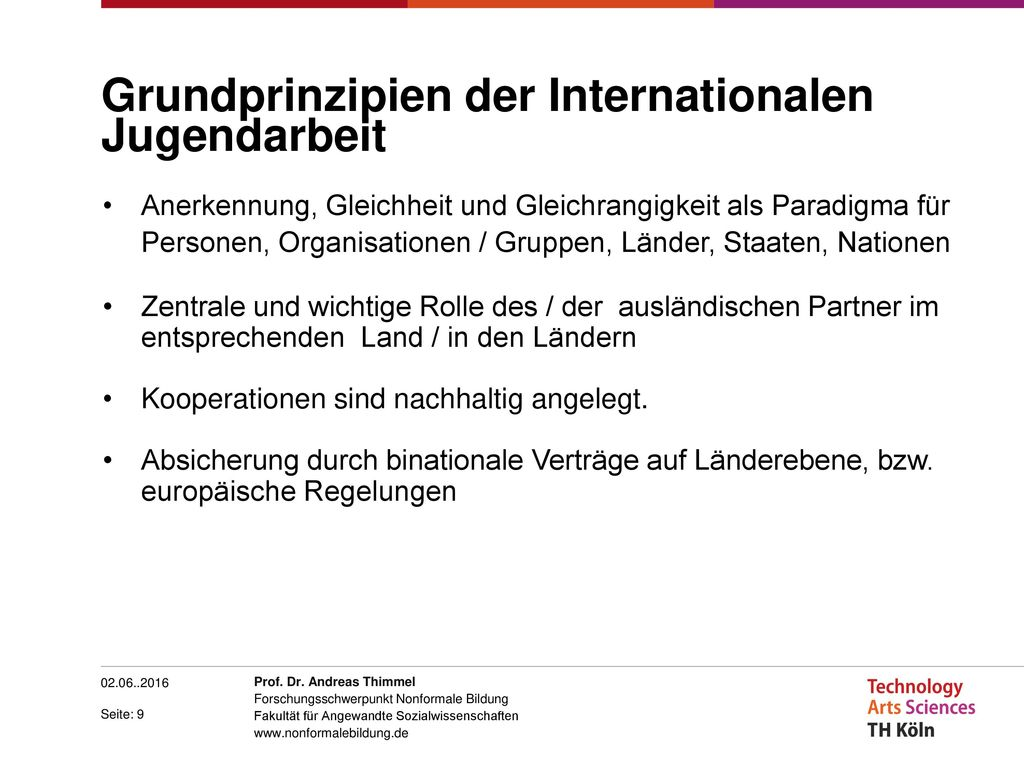 Grundprinzipien der Internationalen Jugendarbeit