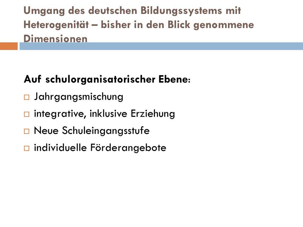 Umgang des deutschen Bildungssystems mit Heterogenität – bisher in den Blick genommene Dimensionen