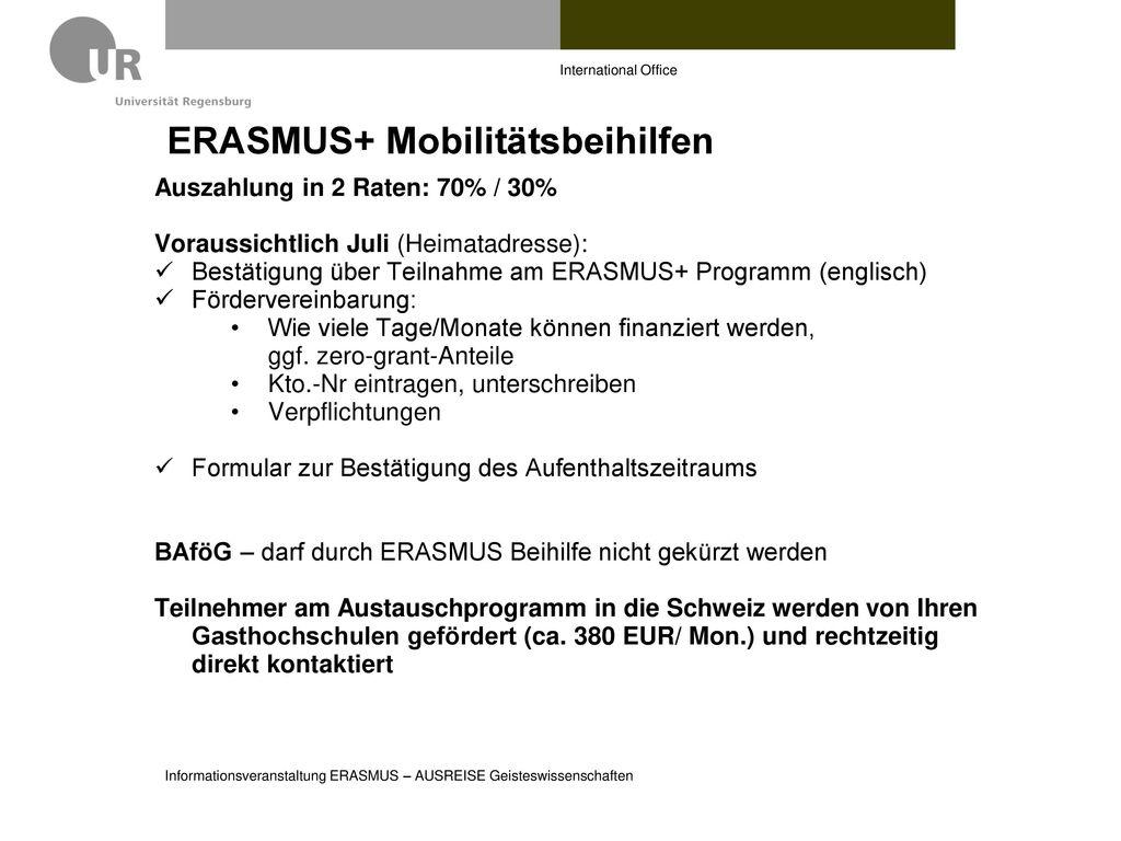 ERASMUS+ Mobilitätsbeihilfen