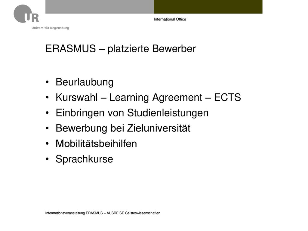 ERASMUS – platzierte Bewerber