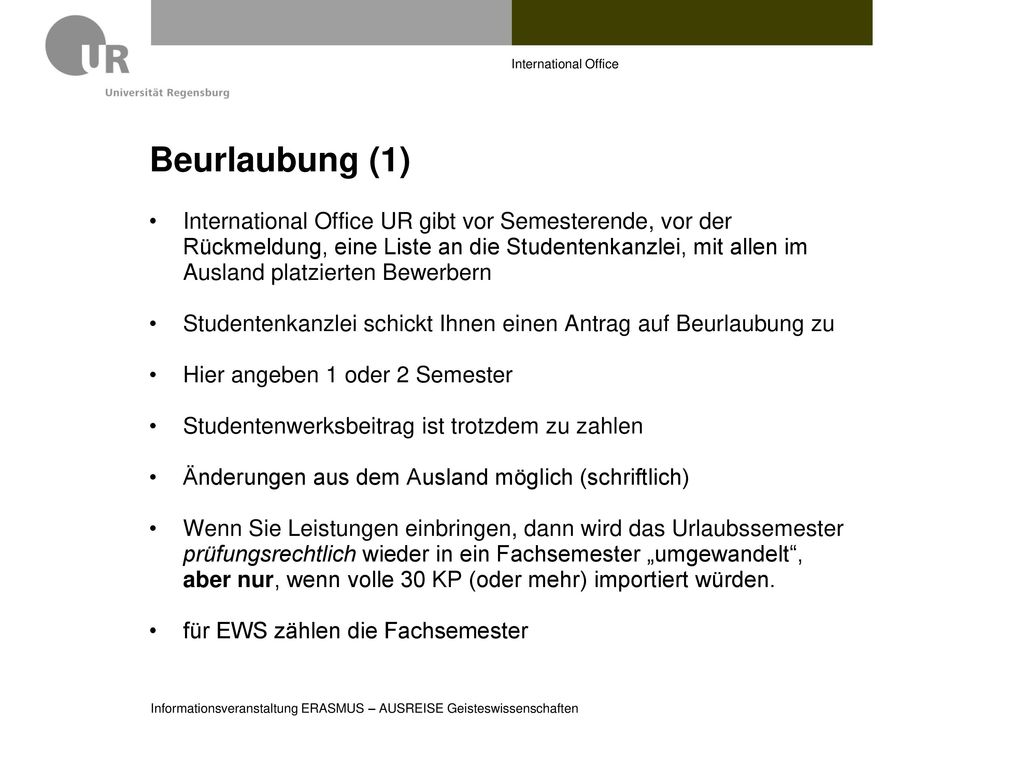 International Office Beurlaubung (1)
