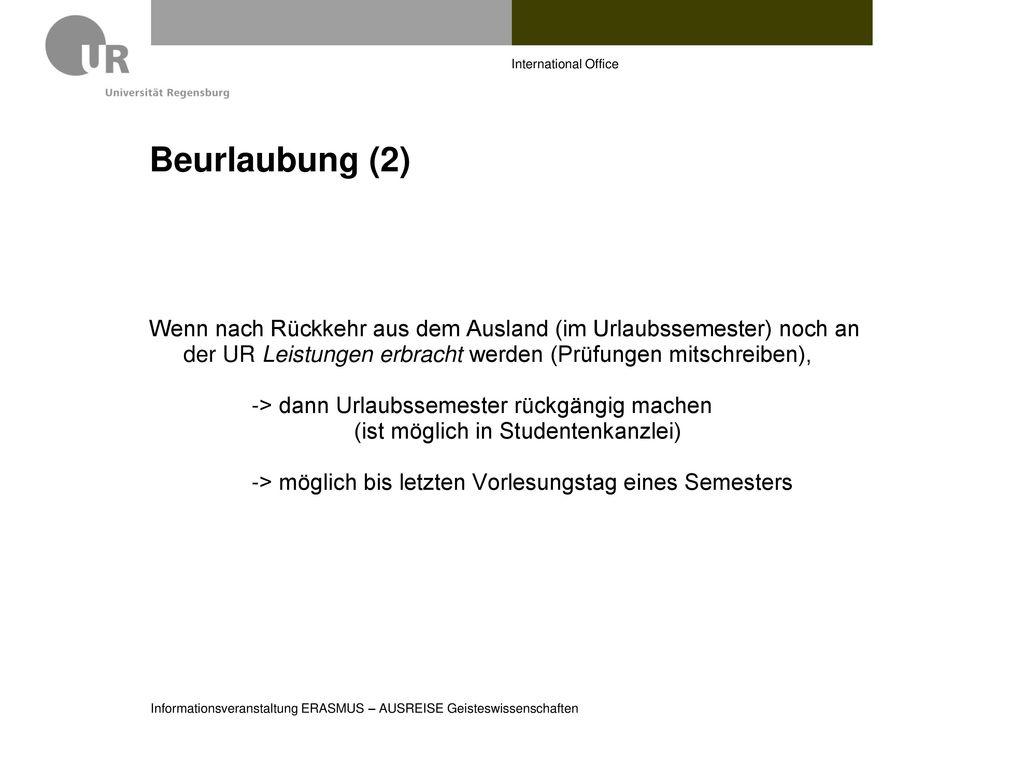 International Office Beurlaubung (2)