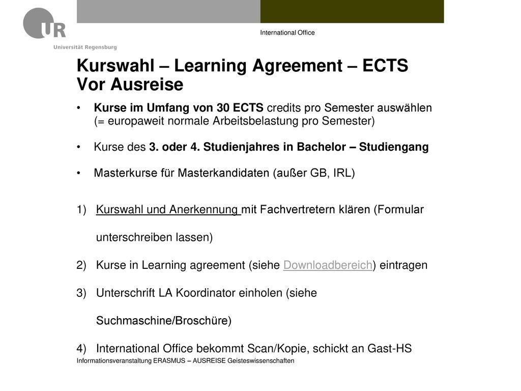 Kurswahl – Learning Agreement – ECTS Vor Ausreise