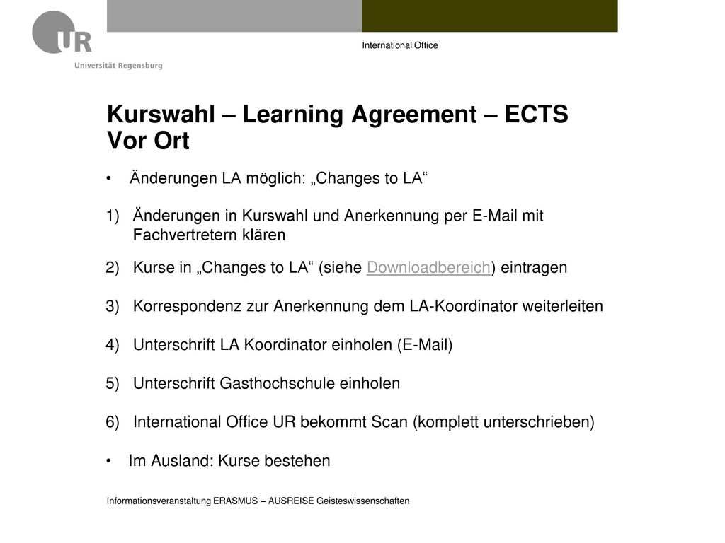 Kurswahl – Learning Agreement – ECTS Vor Ort