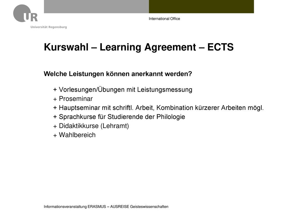 Kurswahl – Learning Agreement – ECTS