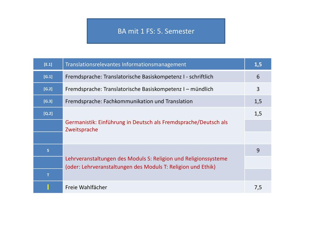BA mit 1 FS: 5. Semester Translationsrelevantes Informationsmanagement