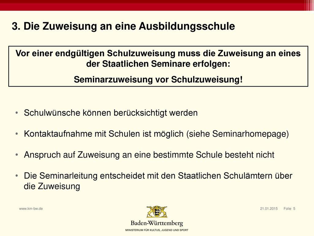 Seminarzuweisung vor Schulzuweisung!