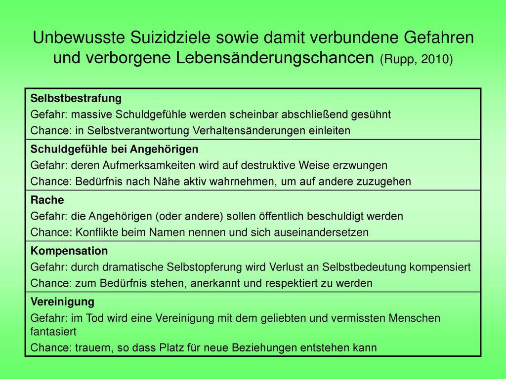 Unbewusste Suizidziele sowie damit verbundene Gefahren und verborgene Lebensänderungschancen (Rupp, 2010)