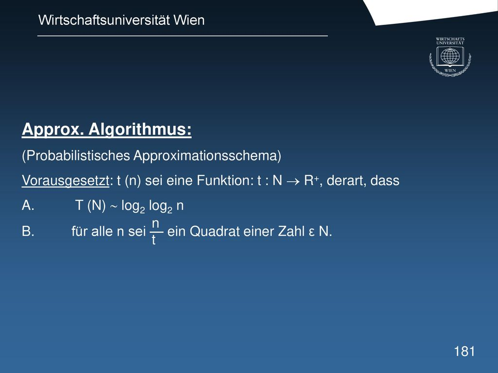 Approx. Algorithmus: (Probabilistisches Approximationsschema)