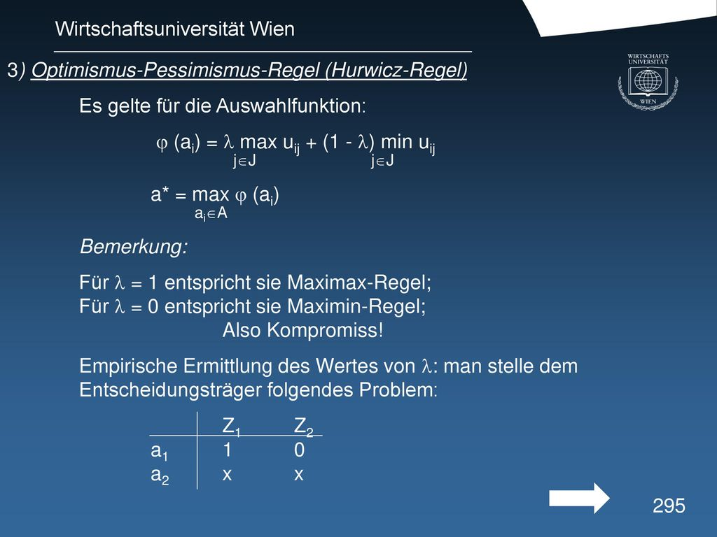 3) Optimismus-Pessimismus-Regel (Hurwicz-Regel)