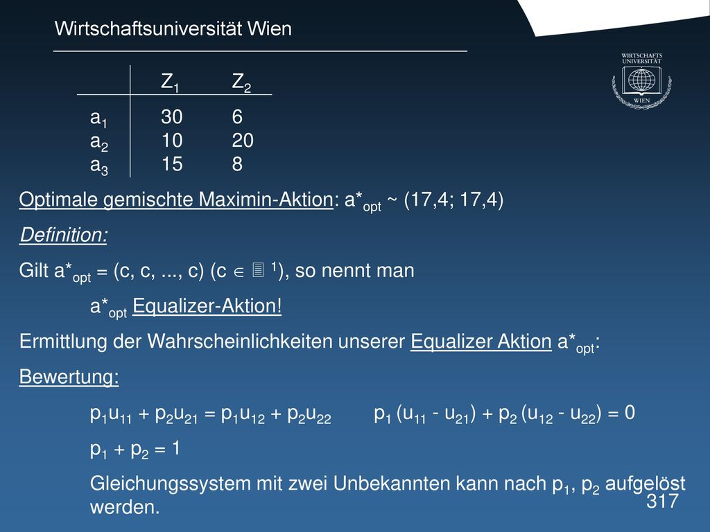 Z1 Z2 a a a Optimale gemischte Maximin-Aktion: a*opt ~ (17,4; 17,4) Definition: