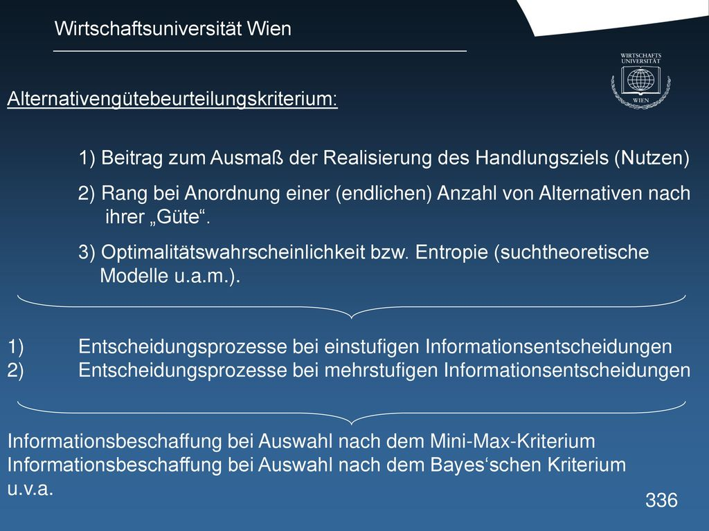 Alternativengütebeurteilungskriterium:
