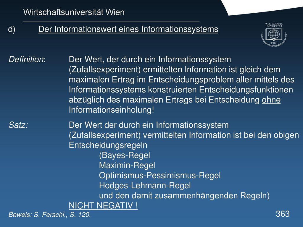 d) Der Informationswert eines Informationssystems