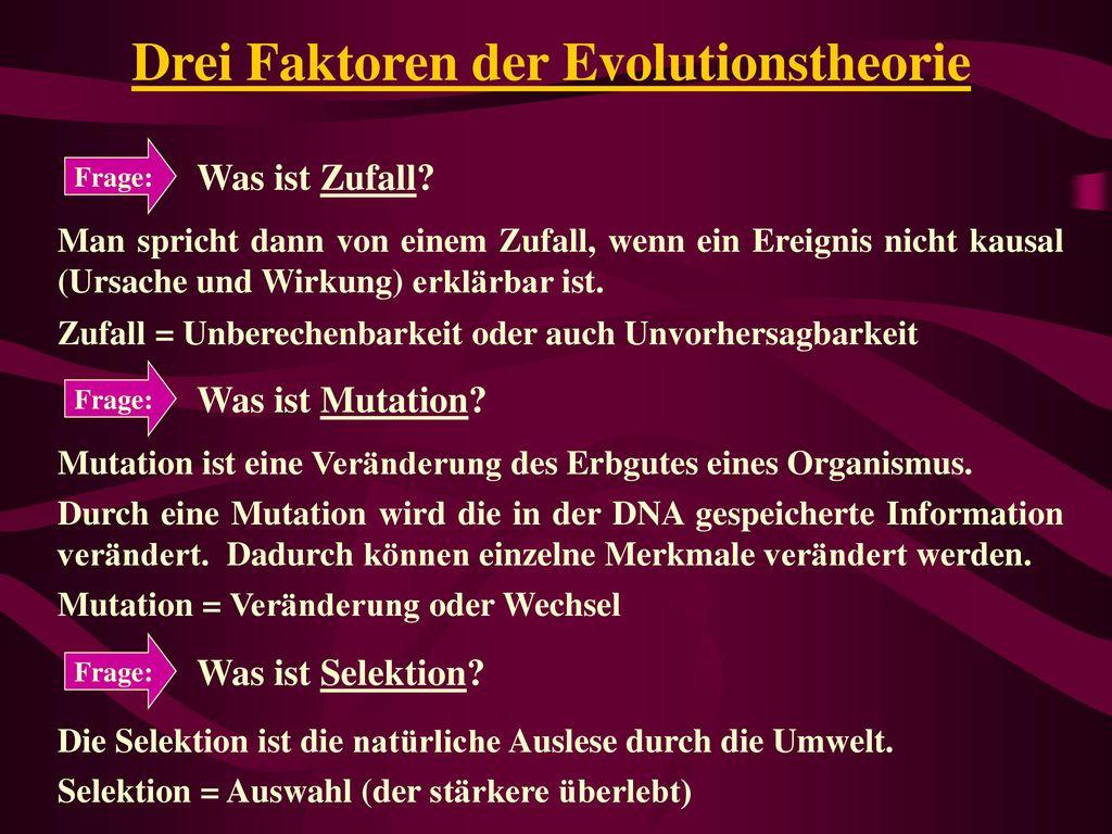 Drei Faktoren der Evolutionstheorie