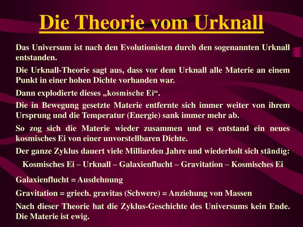 Die Theorie vom Urknall