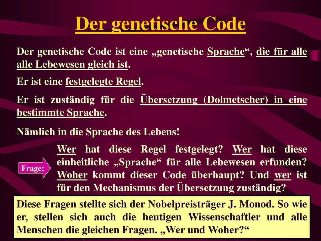"""Der genetische Code Der genetische Code ist eine """"genetische Sprache , die für alle alle Lebewesen gleich ist."""