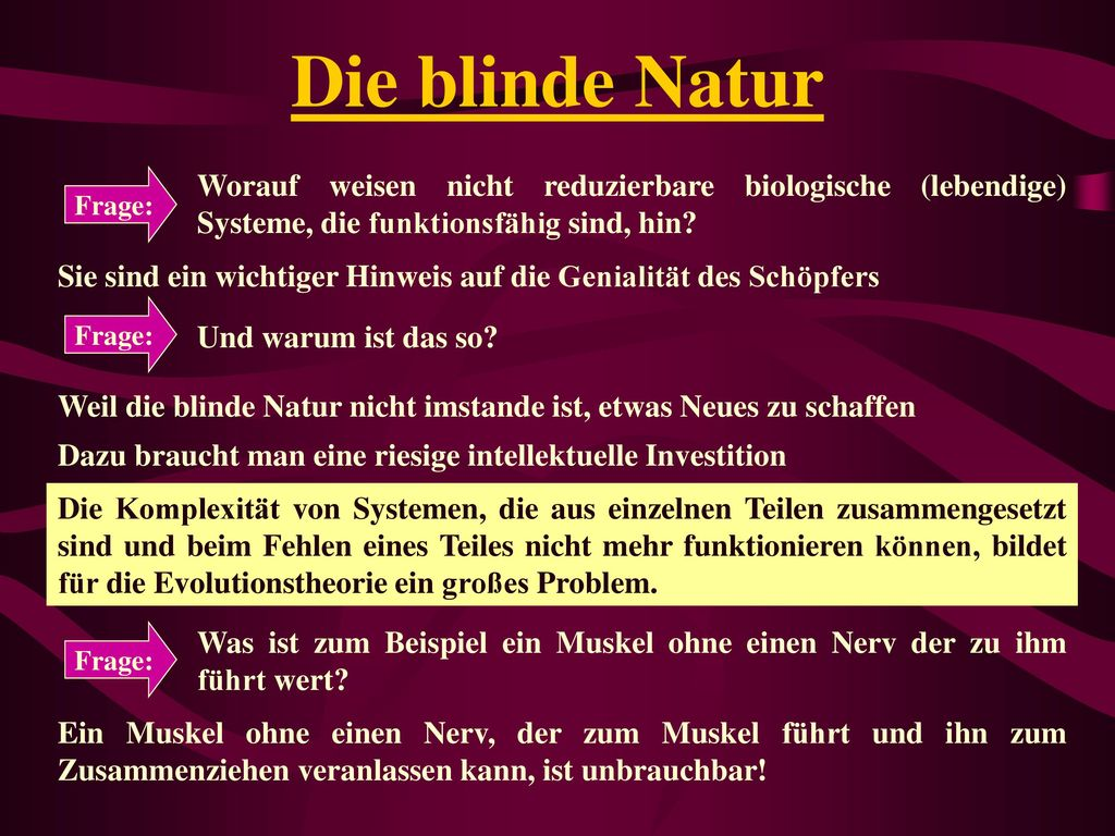 Die blinde Natur Frage: Worauf weisen nicht reduzierbare biologische (lebendige) Systeme, die funktionsfähig sind, hin