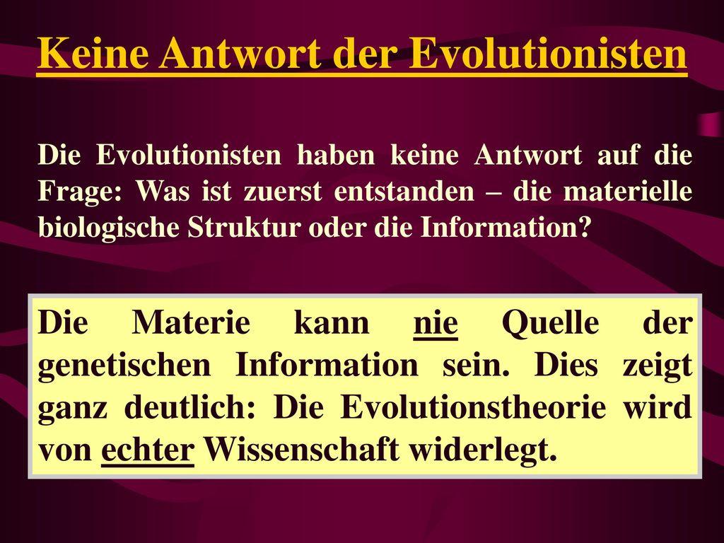 Keine Antwort der Evolutionisten