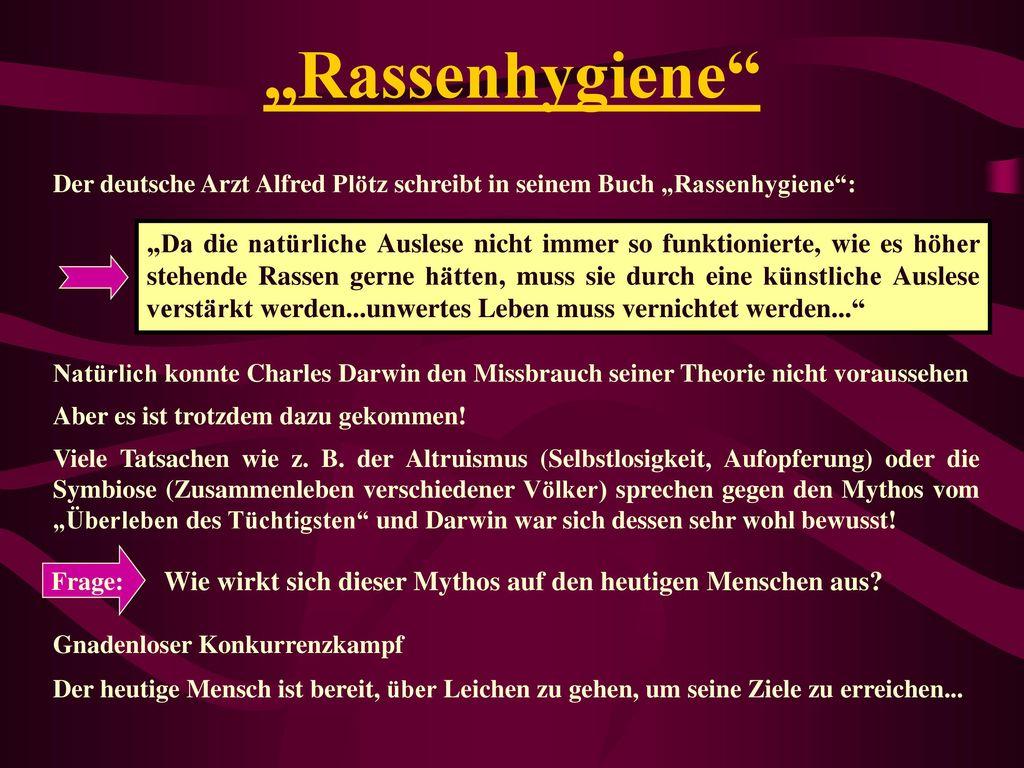 """""""Rassenhygiene Der deutsche Arzt Alfred Plötz schreibt in seinem Buch """"Rassenhygiene :"""