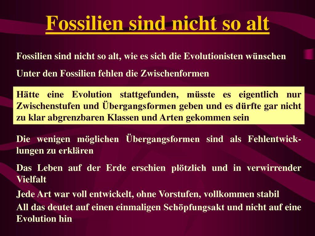 Fossilien sind nicht so alt