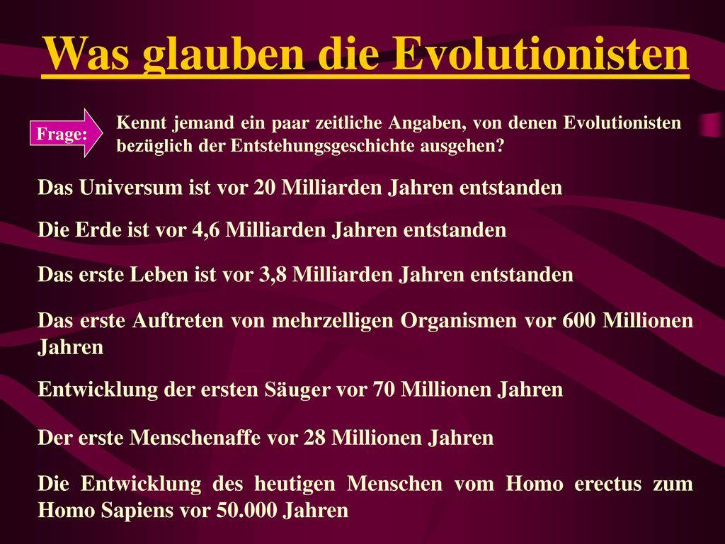 Was glauben die Evolutionisten
