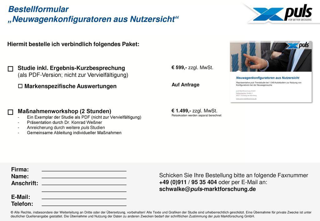"""Bestellformular """"Neuwagenkonfiguratoren aus Nutzersicht"""