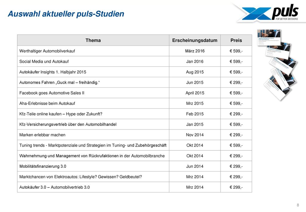 Auswahl aktueller puls-Studien