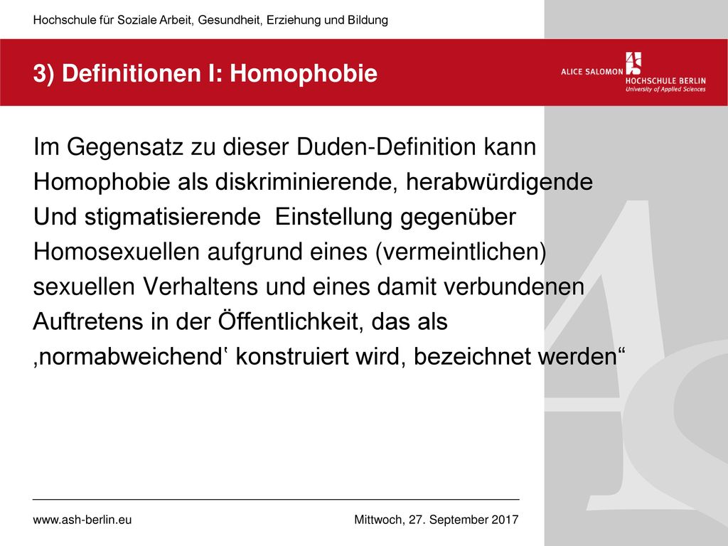 3) Definitionen I: Homophobie