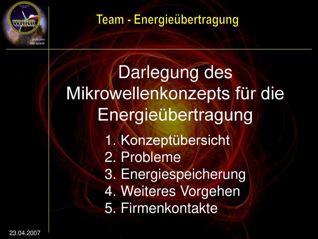 Darlegung des Mikrowellenkonzepts für die Energieübertragung
