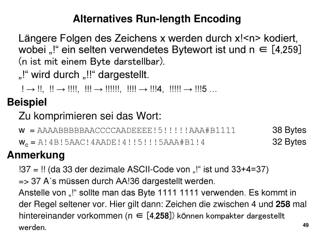 Alternatives Run-length Encoding