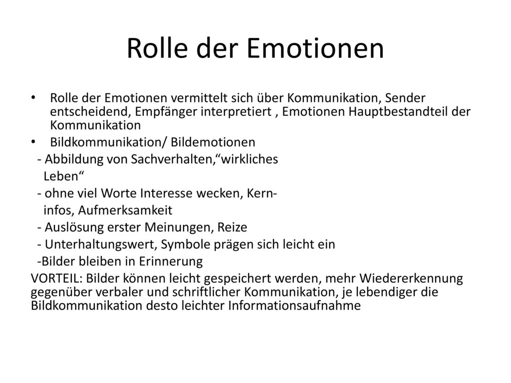 Rolle der Emotionen