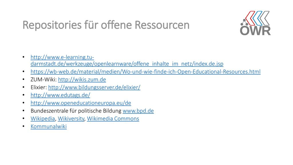 Repositories für offene Ressourcen