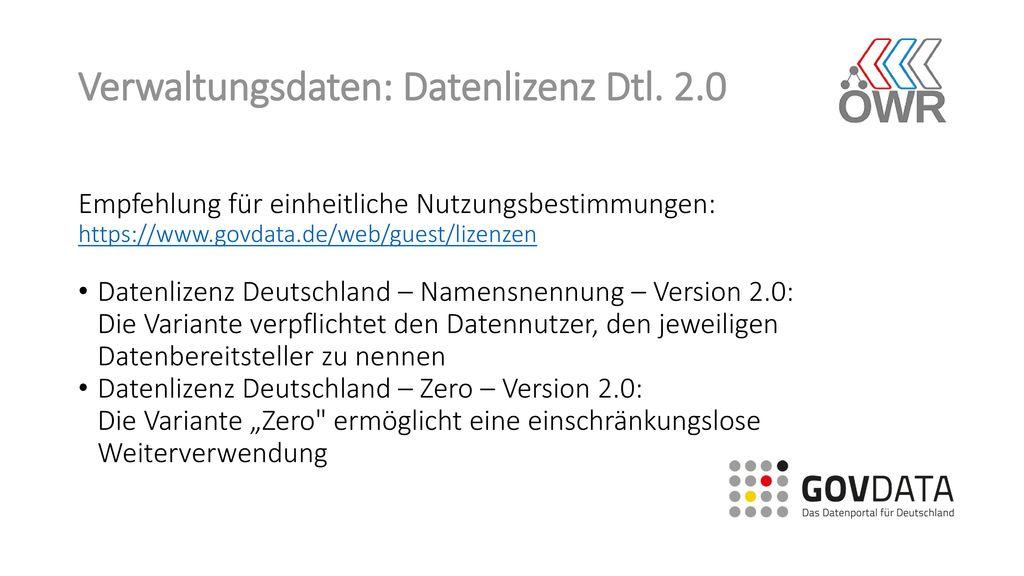 Verwaltungsdaten: Datenlizenz Dtl. 2.0