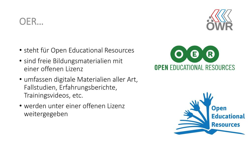 OER… steht für Open Educational Resources