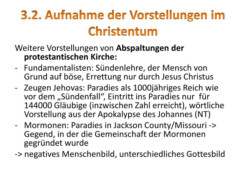 3.2. Aufnahme der Vorstellungen im Christentum